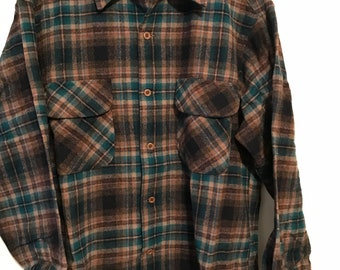 Vtg Original Pendleton Wool Shirt Sz Men's L. Flap pockets
