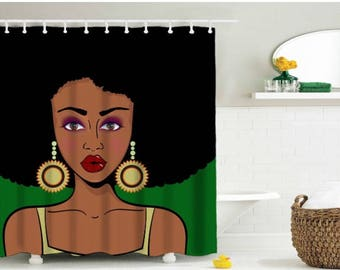 Afro shower curtain, black girl magic shower curtain 3