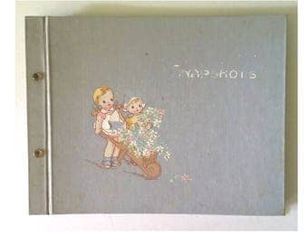 Mid-century Child's Snap Shots Photo Album ~ Scrapbook ~ Blank Pages ~ Blue or Gray Canvasboard  ~ Kids Decor or Display