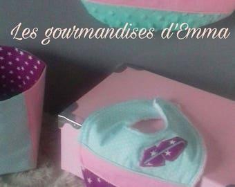 Bavoir bandana coloris violet rose vert d'eau théme renard