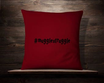 Harry Potter Pillow | Muggle Struggle | Hashtag | Harry Potter Decor | Harry Potter Gift | Harry Potter Pillowcase | Muggle Throw Pillow