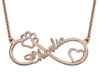 Personalized Infinity Paw-Heart  Name Necklace