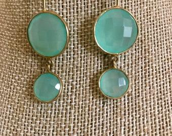 Aqua Chalcedony Drop Dangle Earrings Set in Gold Fill