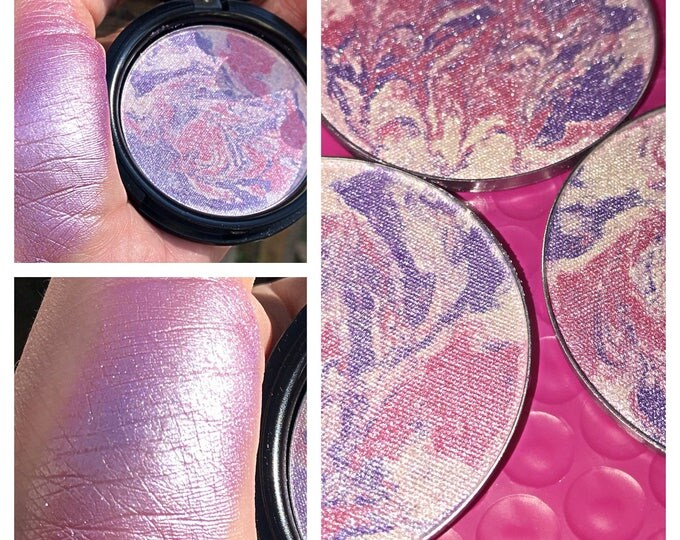 CANDY COATED KISSES -Special Edition- Marble Pressed Highlighter Pigment - purple and pink