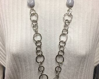 Silver Circle Necklace, Chain Necklace, Statement Necklace, Long Circle Necklace, Beaded Chain