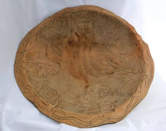 Rare Japanese Hand-Carved Wooden Bread Bowl