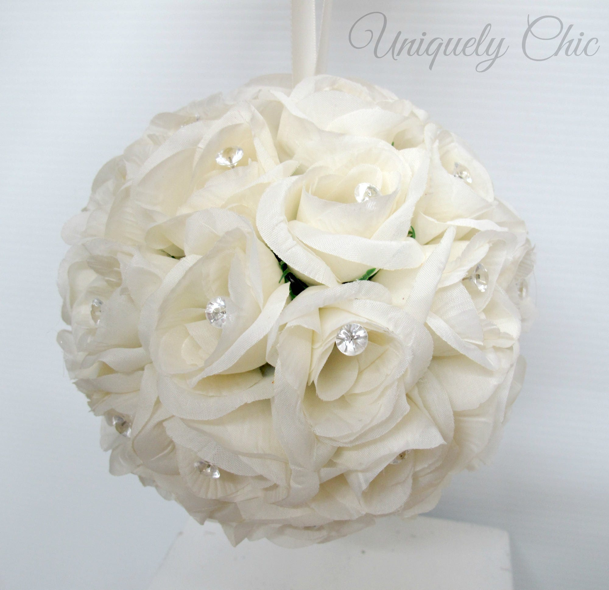 Wedding Flower Balls Flower Girl Pomander White Rose Bridesmaid