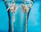 Vintage Paper Crane Drop Chain Earrings
