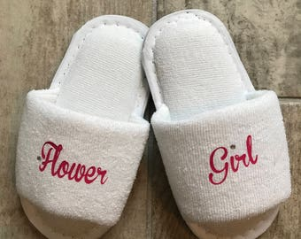 flower girl slippers, bridesmaid slippers, flower girl gift , bridal party slippers, wedding gift , slippers, flower girl, bridesmaid