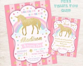 Unicorn Invitation, Magical Birthday Invitation, Printable Birthday Invitation
