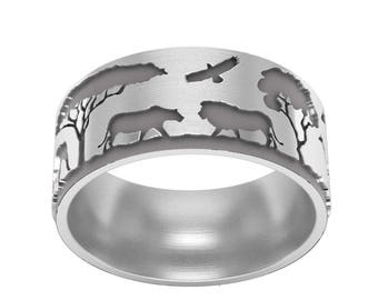 Safari Band Ring in Sterling Silver Metal, Silver Landscape Band Ring, Forest Ring, Nature Band Ring, Ski Ring, Silver Wedding Band Ring
