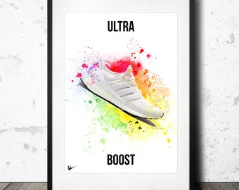 Adidas Ultra Boost Sneaker Print Poster Abstract Art Limited Edition Painted Effect A4