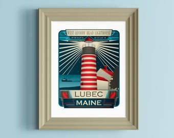 West Quoddy Head Lighthouse | Lubec | Maine art print | Maine souvenir | Lighthouse art | Maine gifts | New England poster | Gift for sailor