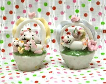 Vintage Glass Mice Basket Figurine from Japan 90s