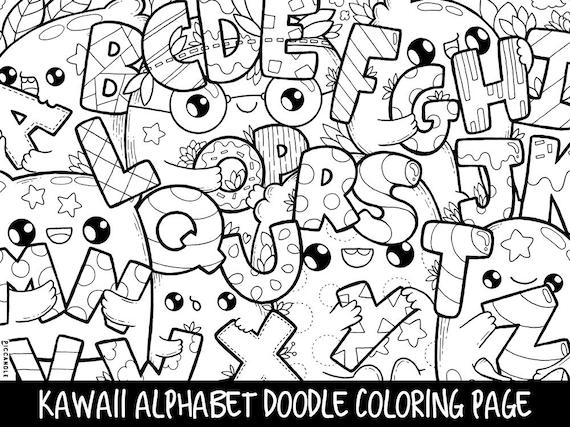Alphabet Doodle Coloring Page Printable Cute/Kawaii Coloring