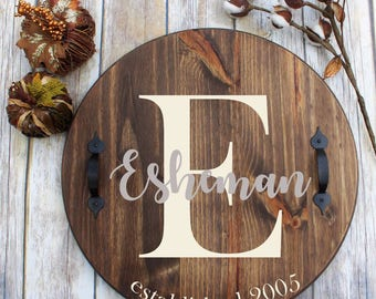 Personalized wooden sign, round wood sign with handles, personalized round tray, last name sign, wedding gift, housewarming gift