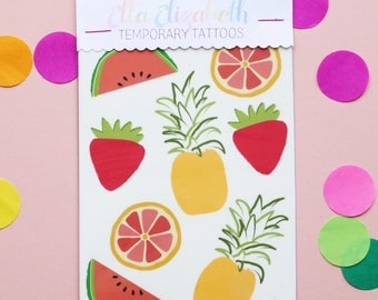 Tropical Fruit Temporary Tattoos - Set of 8 | Stocking Fillers