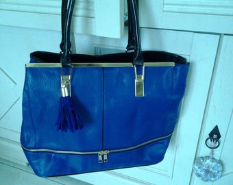 Two color Royal blue leather tote
