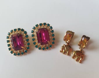 So Pretty! Truly Vintage Earrings from the 1970's - Gold Tone Dangle and Drop Elephant Earrings with Citrus Stone - Clip On Purple and Green