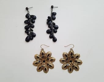 Classic and Elegant - Vintage 90's Fashion - Black and Gold Floral Earrings and Black Bead Dangle and Drop Formal Earrings - Gorgeous!