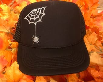 Glitter spider and web hat