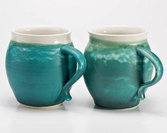 2 x Hand Thrown Stoneware Aqua Mug Coffee Cup Large