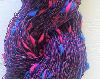 Blue and Pink Bullion Light Fingering Weight Yarn Skein (300meters) Mixed Fibre Content