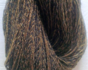 Plumage - Mustard Brown and Black Blend Lace/Light Fingering Weight Yarn Skein (300meters) Mixed Fibre Content