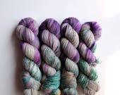 """Hand Dyed Yarn - """"Garden Ivy"""" Merino Wool Fingering weight, DK weight, Indie dyed yarn, Speckle Sock Yarn 100g skein"""