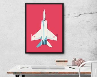 MiG-25 Foxbat Interceptor Jet Aircraft Poster Wall Art Print