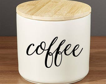 Coffee Decal Vinyl, Coffee Sticker, Coffee Decal, Home Decor, Coffee container decal