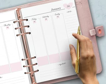 PRINTED Dated Weekly Planner, WO2P Planner, 2017 2018 Printed Inserts, Week on two pages, Vertical week, Kikki K Large, Filofax A5 inserts