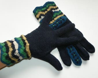 Knit black gloves Knitted gloves Wool gloves Warm gloves Warmers Alpaca gloves Fingerd gloves Gloves with fingers Women's gloves Gift