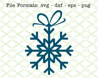 SNOWFLAKE SVG, Dxf, Eps, Png. Christmas Ornament Svg, Digital Cut Files for Cricut & Silhouette; Bow Svg, Christmas SVG, Holiday Svg Clipart