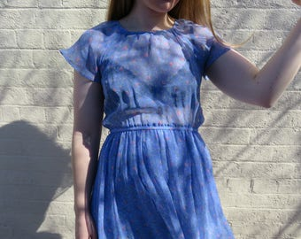 SHEER Floral Blue Dress / 80s Chiffon Pink Floral Tea Dress / A Line Floaty Sleeves Sleeved / Spring Dresses Size 8 Small