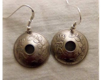Earrings made of genuine pieces of 25 ore 1967 the Danmark.