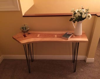 Multitone Solid Ash Wood Hairpin Leg Console Table / Side Table With  Butterfly Keys. Handmade