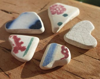 5 Perfect Scottish Sea Pottery Hearts by SeaFindsScotland Rare Scottish Beach Finds Jewerly Grade Supplies Craft Supplies