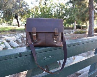 Brown Leather Messenger bag/ Leather Shoulder Bag/ Leather Briefcase / Leather School Bag/ Personalized Bag