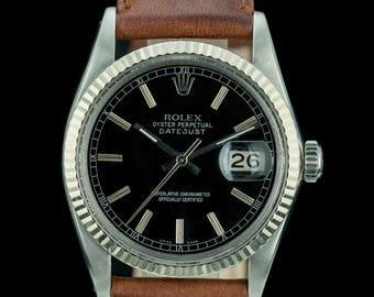 Rolex Men's Datejust 16014 Stainless Steel 36mm Black Dial Fluted Bezel