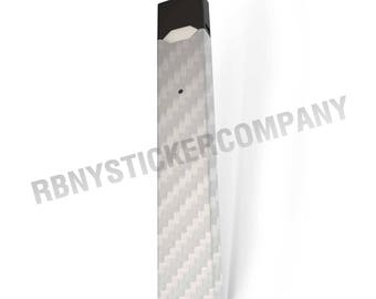 Skin Decal Wrap for JUUL White Carbon Fiber