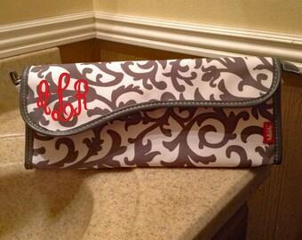 Monogrammed flat iron travel holder, curling iron travel case, personalized curling iron case, bridesmaid gift idea, flat iron travel case