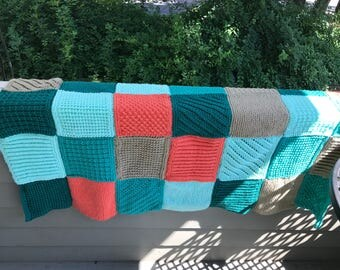 Teal Green and Orange Patchwork Throw Blanket -- FREE SHIPPING