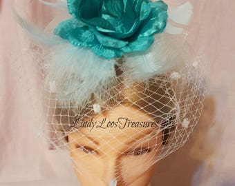 White Bridal Hat Fascinator with Turquoise Flower, OOAK, Bridal Hat,  Feather and Flower Fascinator, Church Hat, Derby Hat, Melbourne Cup