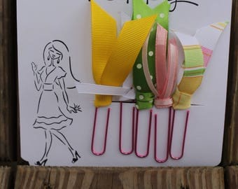 Planner Clips, Planner accessories, Happy Planner clips,gree, yellow & pink , Diary accessories, Ribbon Planner Clip, journaling, SET of 5