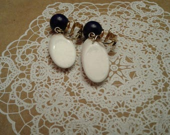Trifari Blue and White Plastic Clip On Earrings