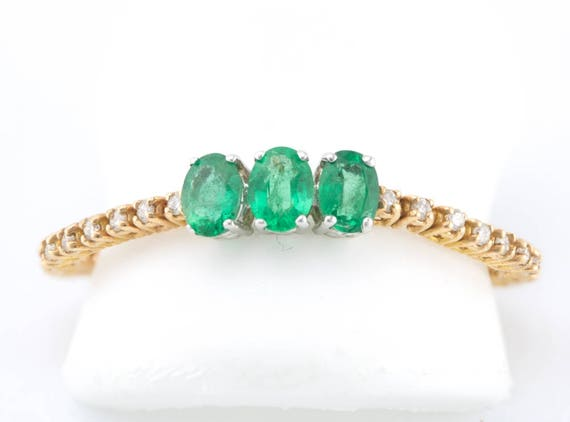 1/2ct 3-Stone Oval Emerald & Diamond 18K 2Tone Gold Flexible Stackable Band Ring