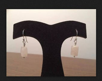 Valentine's Day Jewelry-Faceted Rose Quartz and Sterling Silver Earrings