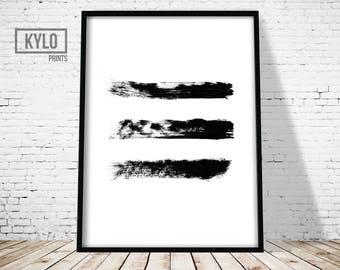 Brush Prints, Minimalist Abstract Design, Black and White, Modern Print, Brush Stroke Art, Abstract Print, Wall Decor, Modern Art, Brush Art