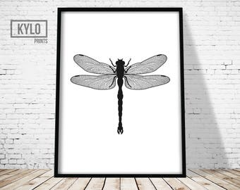 Dragonfly Print, Insect Art, Minimalist Design, Black White, Wall Decor, Dragonfly Poster, Dragonfly Illustration, Dragonfly Art, Modern Art